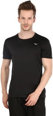 Mizuno Solid Men's Round Neck Black T-Shirt
