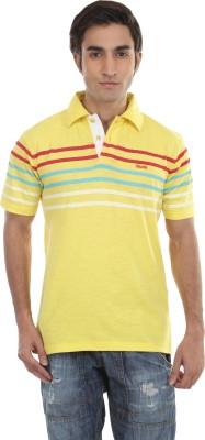 Skatti Striped Men,s Polo Neck Yellow T-Shirt