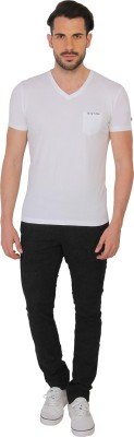 Being Human Clothing Solid Men's V-neck White T-Shirt