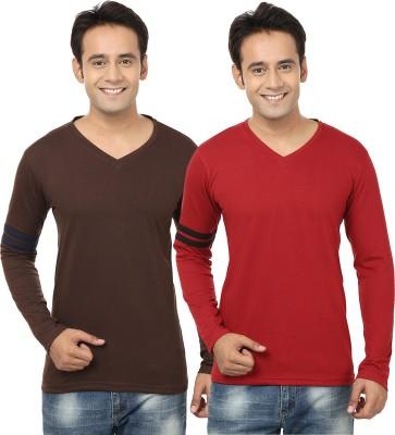Jangoboy Solid Men,s V-neck Brown, Maroon T-Shirt