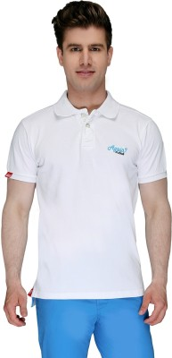 Again Vintage Solid Men's Polo Neck White T-Shirt