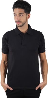 Burdy Solid Men's Polo Neck Black T-Shirt