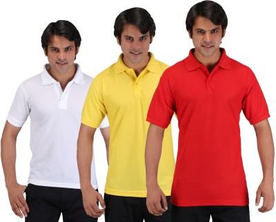 Aqua Solid Men's Polo Neck Multicolor T-Shirt