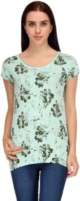 Aspasia Printed Women's Round Neck Light Green T-Shirt