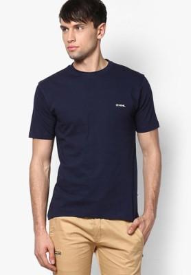 Happy Hours Solid Men's Round Neck Dark Blue T-Shirt