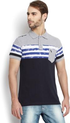 Kingaroo Printed Men's Polo Neck Blue, Grey T-Shirt
