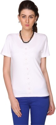 Bedazzle Embroidered Women's Round Neck White T-Shirt