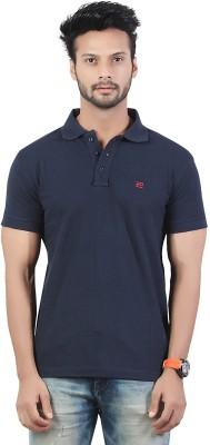 Afylish Solid Men's Polo Neck Blue T-Shirt