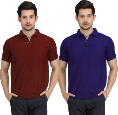Krazy Katz Solid Men's Polo Neck Maroon, Blue T-Shirt