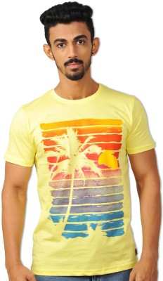 Riot Jeans Printed Men's Round Neck Yellow T-Shirt