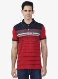Seaboard Striped Men's Polo Neck Red T-S...