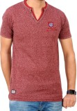 Rayon Self Design Men's V-neck Red T-Shi...