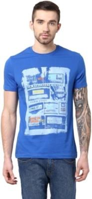 London Bridge Solid Men's Round Neck Blue T-Shirt