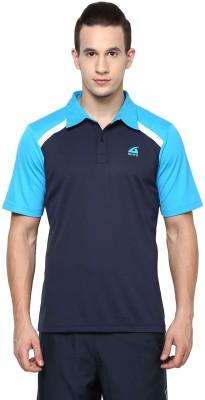 Aurro Solid Men's Polo Neck Dark Blue T-Shirt