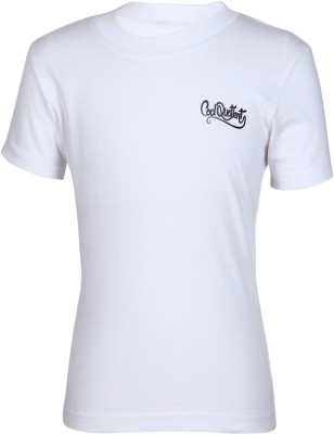 Cool Quotient Solid Boy's Round Neck White T-Shirt