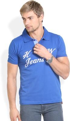 HW Self Design Men,s Polo Neck Blue T-Shirt