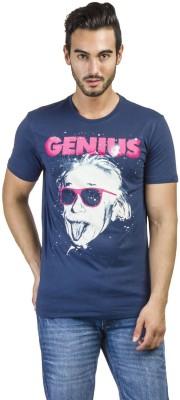 Einstine Printed Men's Round Neck Blue T-Shirt