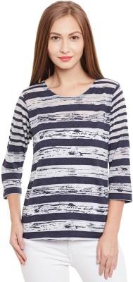 Purys Striped Women,s Round Neck White T-Shirt
