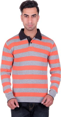 Dezyn Striped Men's Polo Neck Orange, Grey, Black T-Shirt