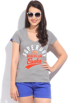 Superdry Printed Women's V-neck Grey T-Shirt