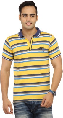 Byrock Striped Men's Polo Neck Yellow T-Shirt
