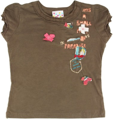 Eimoie Applique Girl's Round Neck Brown T-Shirt