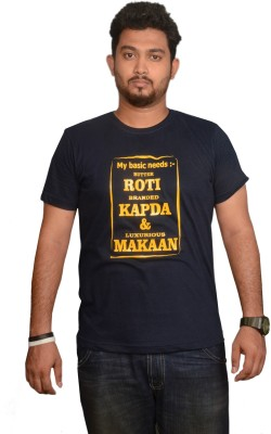 College Jugaad Printed Men's Round Neck Dark Blue T-Shirt