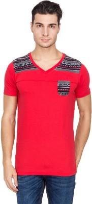 Hi Lite Printed Men's V-neck Red T-Shirt