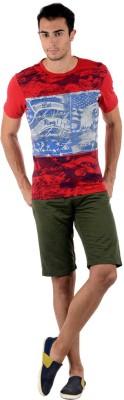 Keywest Graphic Print Men's Round Neck Red, Blue T-Shirt