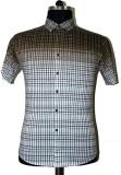 Ashri Checkered Men's Polo Neck Brown T-...