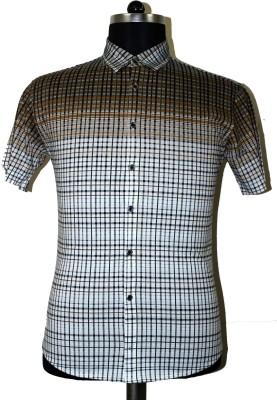 Ashri Checkered Men's Polo Neck Brown T-Shirt