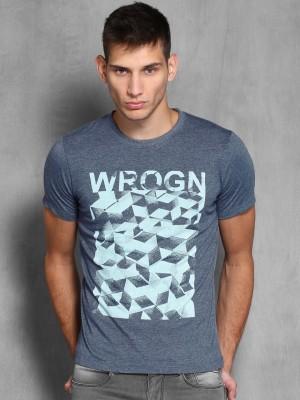 WROGN Printed Men's Round Neck Dark Blue T-Shirt