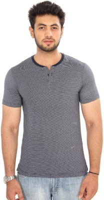 Bongio Striped Men's Henley Blue T-Shirt