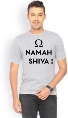 Campus Sutra Printed Men's Round Neck Grey T-Shirt