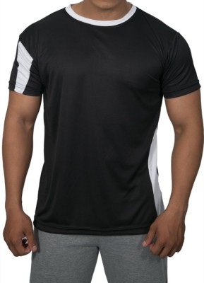 Obvio Striped Men's Round Neck Black T-Shirt