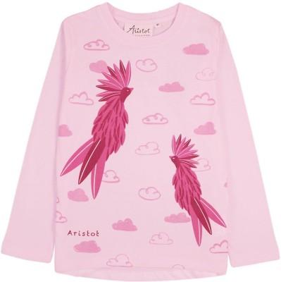 Aristot Printed Girl,s Round Neck Pink T-Shirt