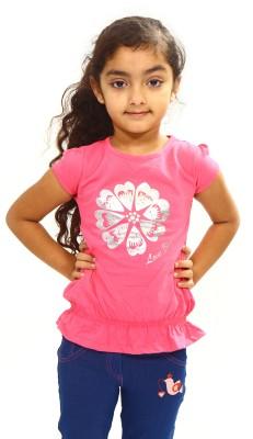 Bio Kid Printed Girl's Round Neck Pink T-Shirt