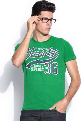 Harvard Printed Men's Round Neck Green T-Shirt