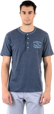 Mudo Solid Men's Henley Grey T-Shirt