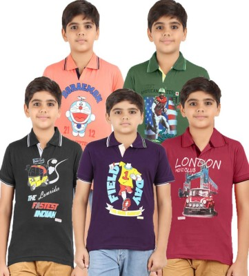 Meril Graphic Print Boy's Round Neck Black, Dark Green, Maroon, Orange, Purple T-Shirt