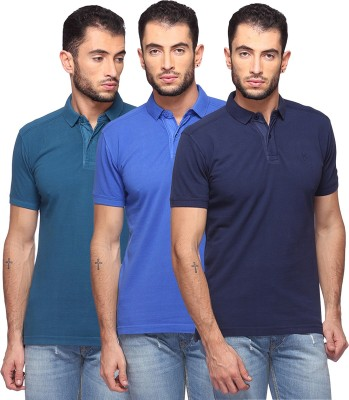GOAT Solid Men's Polo Neck Blue, Light Blue, Dark Blue T-Shirt