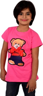 tiny tots Embellished, Printed, Applique Girl's Round Neck Pink T-Shirt