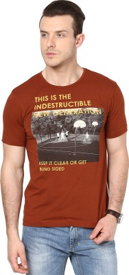 Cherymoya Printed Men's Round Neck Brown T-Shirt