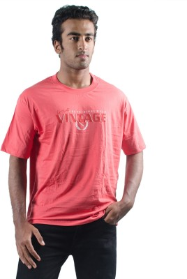 0-Degree Solid Men's Round Neck Red T-Shirt