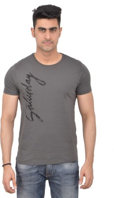 Grapefruit Florida Printed Men's Round Neck Grey T-Shirt