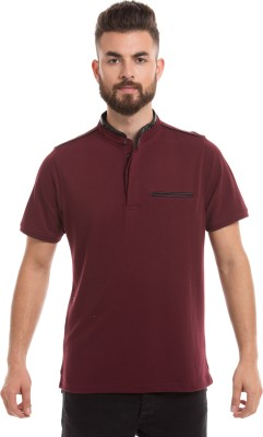 Prym Solid Men's Round Neck Maroon T-Shirt