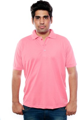 Jambo Solid Men,s Polo Neck Pink T-Shirt