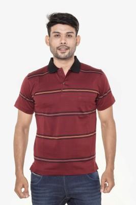 Gleneagles Striped Men's Polo Neck Brown T-Shirt