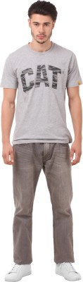 CAT Printed Men's Round Neck Grey T-Shirt