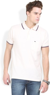HW Solid Men,s Polo Neck White T-Shirt
